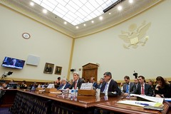 U.S. Secretary of State John Kerry, flanked by U.S. Energy Secretary Dr. Ernest Moniz and U.S. Treasury Secretary Jack Lew, testifies on July 28, 2015, about the Iranian nuclear deal before the House Foreign Affairs Committee in Washington, D.C. [State Department photo/ Public Domain]