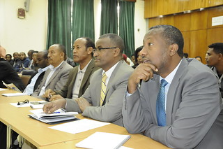 Dr. Bewket Siraw Adgeh (MoA) and Livestock State Minister Dr. Gebregziabher Gebreyohannes (MoA) from right to left (photo credit: EIAR/S.Yemane)