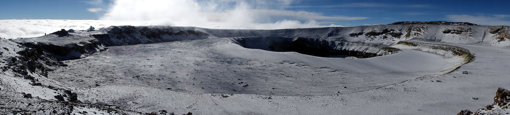 Panorama of the inner crater and Ash Pit, with Uhuru Peak on the horizon to the right