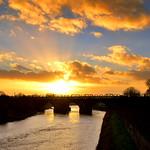 Sunset by the bridge at Preston