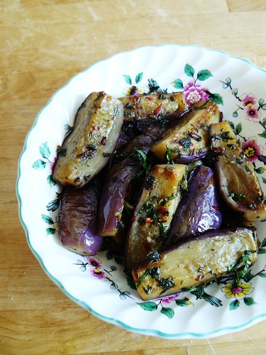 Aubergines with garlic, chilli, and mint