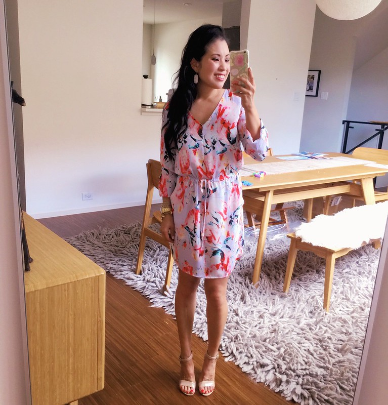 cute & little blog   petite fashion   lavender floral dress, nude strappy sandals, kendra scott elle earrings   spring summer outfit