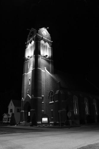 bw illinois nighttime stjosephs catholicchurch freeburg
