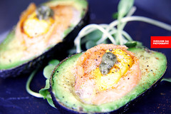 Baked Avocado With Salmon & Bechamal