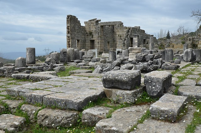 The Temple of Zeus built in the 4th century BC with the Andron A (banqueting hall) in the background, Labraunda, Caria, Turkey