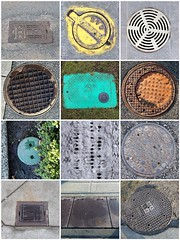 Drains and manhole covers mosaic