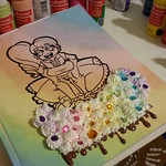 Made a pastel rainbow sketch book cover. Ilike the way it came out.