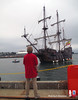Intern James poised to catch the lines from El Galeon