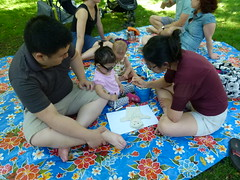 Whole families got in on the puppet-making!