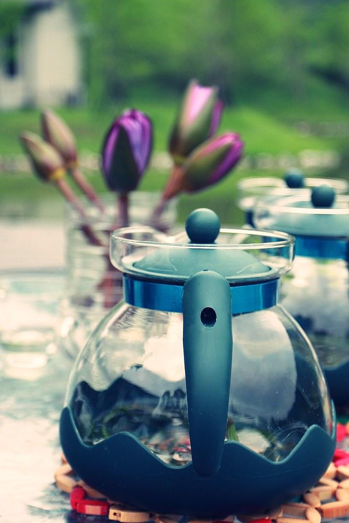 下午茶的花茶,可以在湖邊喝茶水吃東西...
