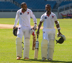 Kyle Hope and Jason Mohammed share a light-hearted moment