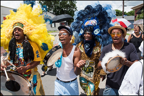 Members of the community celebrate the life of Wild Tchoupitoulas Big Queen Mercedes