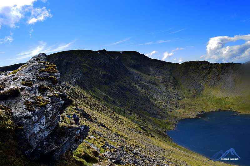 Striding Edge, leading to Helvellyn with Red Tarn below