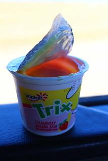 Never too old for Trix yogurt.