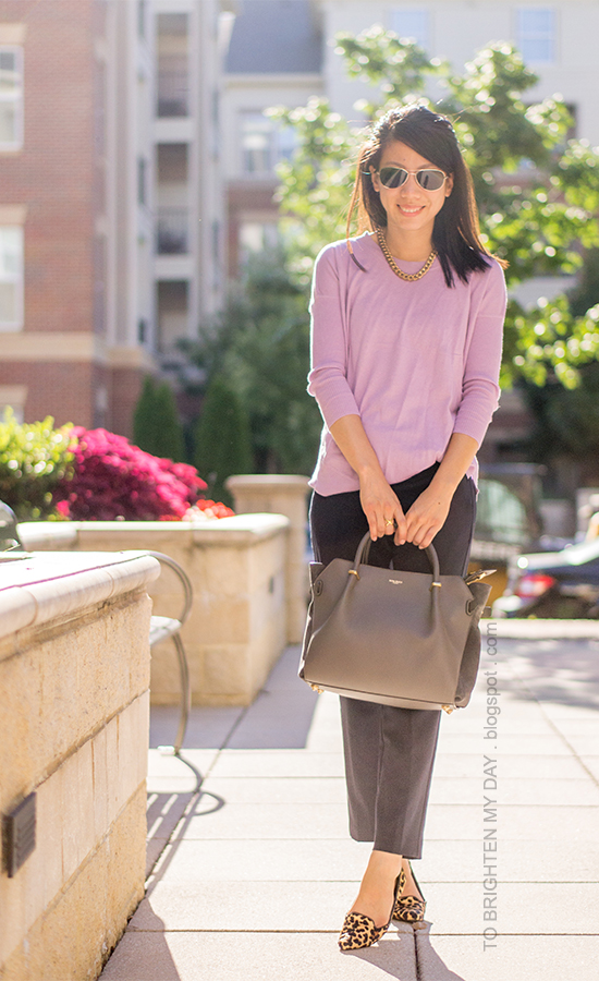 lilac sweater, navy pants, leopard flats