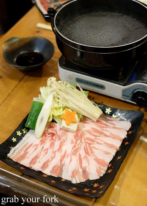 Kurobuta pork shabu shabu at Kagomma Furusato Yataimura, Kagoshima