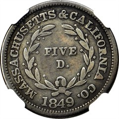 1849 Massachusetts & California Co. $5 Trial reverse