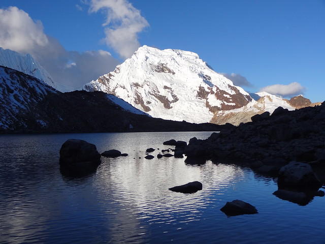 Highlights of the Cordillera Blanca Traverse: Ishinca High Camp - lake and mountain