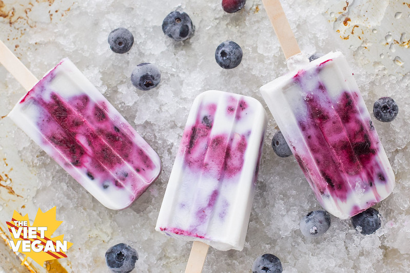 Vegan Blueberry Coconut Popsicles | The Viet Vegan | Creamy, cool, and full of blueberry flavour
