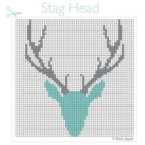 Stag Head Cross Stitch Pattern-01