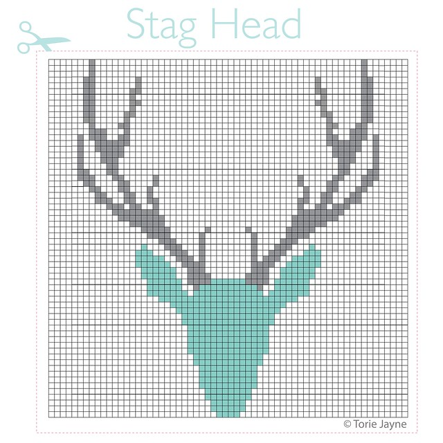 Stag Head Cross Stitch Pattern-01