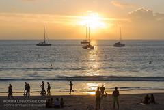 Sunset with yachts and catamarans at Nai Harn beach, Phuket, Thailand     XOKA0330bs
