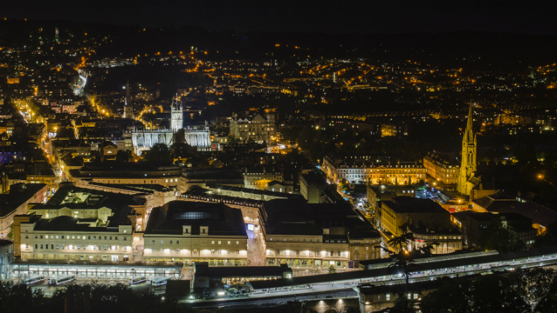 Night time view of the city of Bath