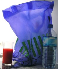 Blue bag, red juice