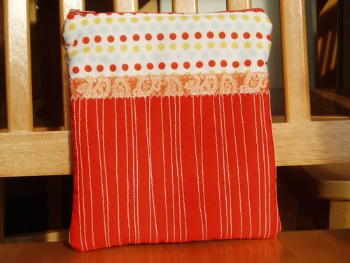 Orange Quilted Pouch