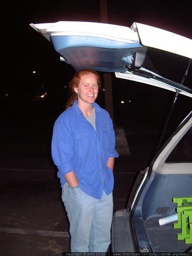 using her head   kathy fixes the broken back door of my honda civic wagon dscf1229