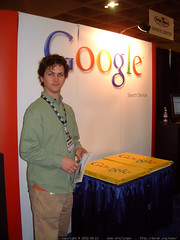 wiseass daniel in front of the unattended google boo…