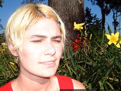 blind, blonde rachel in the flower garden   dscf5727
