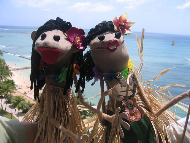 Sock Puppets Go Hawaiian
