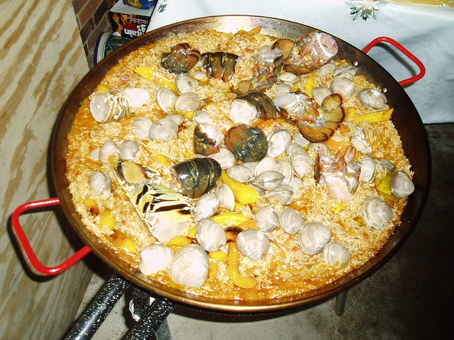 Seafood Paella with Shrimp and Scallops and Lobster Tails and Clams ...