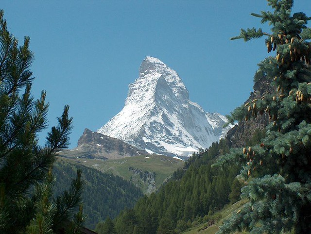 The iconic shape of the Matterhorn.
