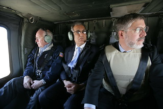 David Addington, Zalmay Khalilzad, and Dr. Lewis Hofmann Depart from Taji Air Base En Route to Baghdad International Airport