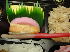 Salmon, fish minced and steamed and fried egg, Tabi-no-Makunouchi bento