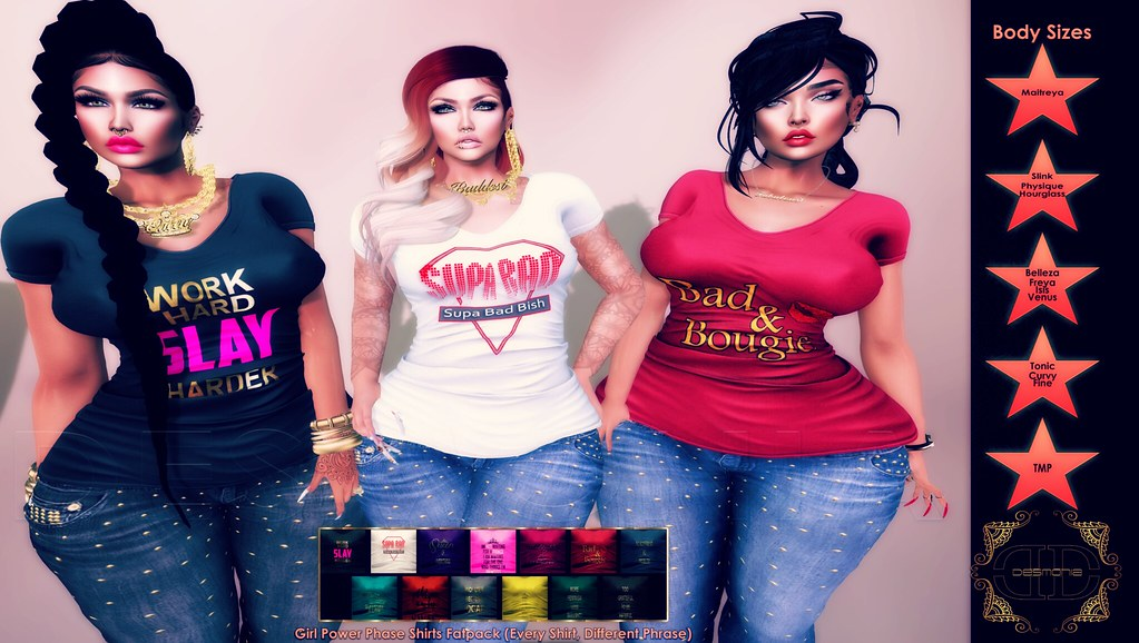 -Desmonia Girl Power Phrase Shirts Fatpack - SecondLifeHub.com