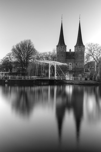 east oostpoort delft holland nederland pays bas netherlands europe europa outdoor landscape landschaft landschap landskap reflection reflectie water tree monochrome blackandwhite black white bw bn scenery scene bridge long exposure hdr canon ef24105mmf4lisusm fullframe 6d rik tiggelhoven travel photography nd filter neutral density gate ndfilter longexposure sw