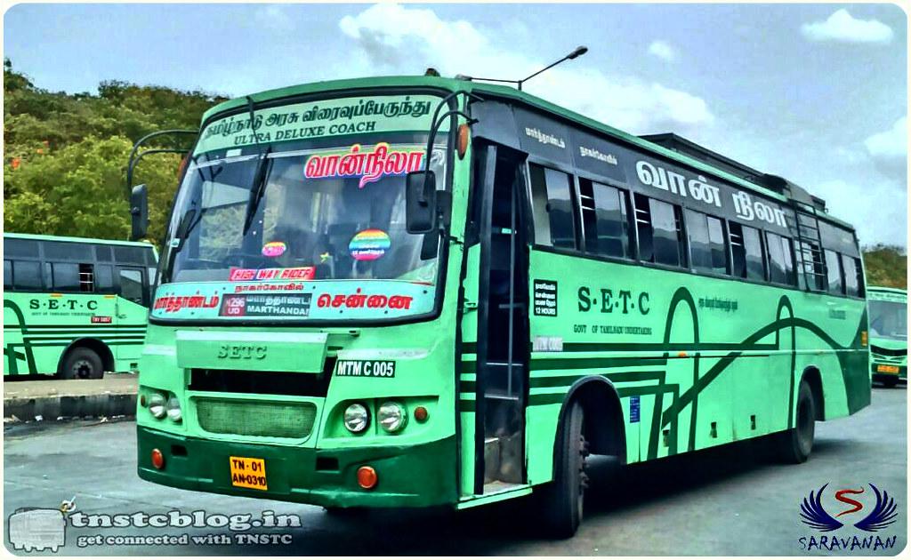 SETC Vaan Nila TN-01AN-0310 MTM C 005 H296 UD Marthandam Chennai via Nagercoil, Tirunelveli, Madurai.