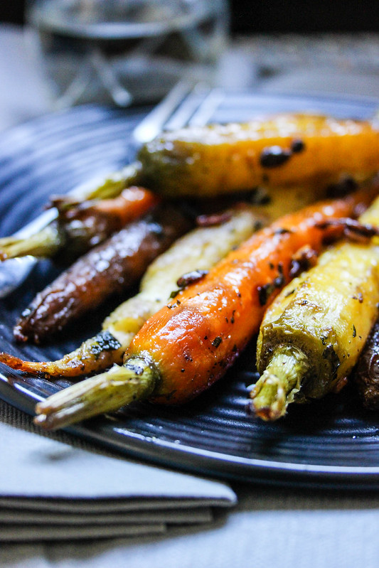 Roasted Carrots with Honey, Cilantro & Sunflower Seeds