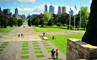 Oct 1993 - View towards CBD from the Shrine of Remembrance, Melbourne, Victoria, Australia