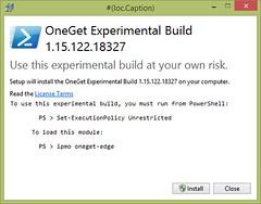 OneGet Experimental Build Splash