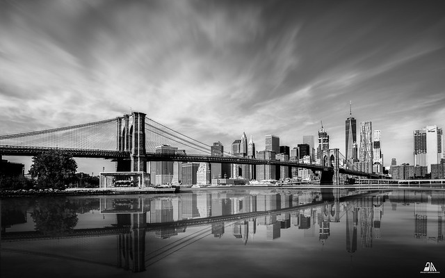 Brooklyn Bridge View from Main Street Park, Brooklyn, New York