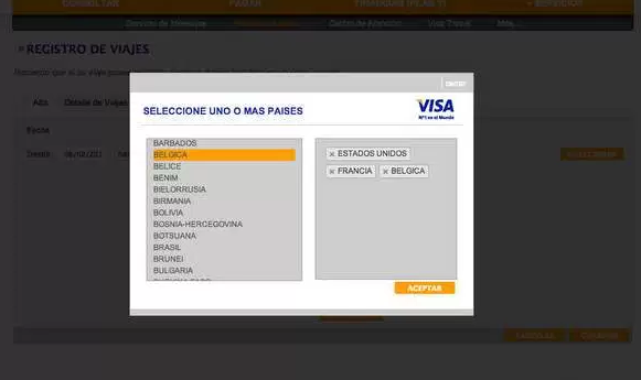 Registrar Tarjeta VISA para Viajar al Exterior