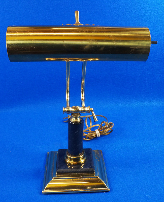 RD15125 Vintage Brass & Marble Bankers Desk Piano Portable Lamp Light Adjustable Arm with Bulb DSC08273