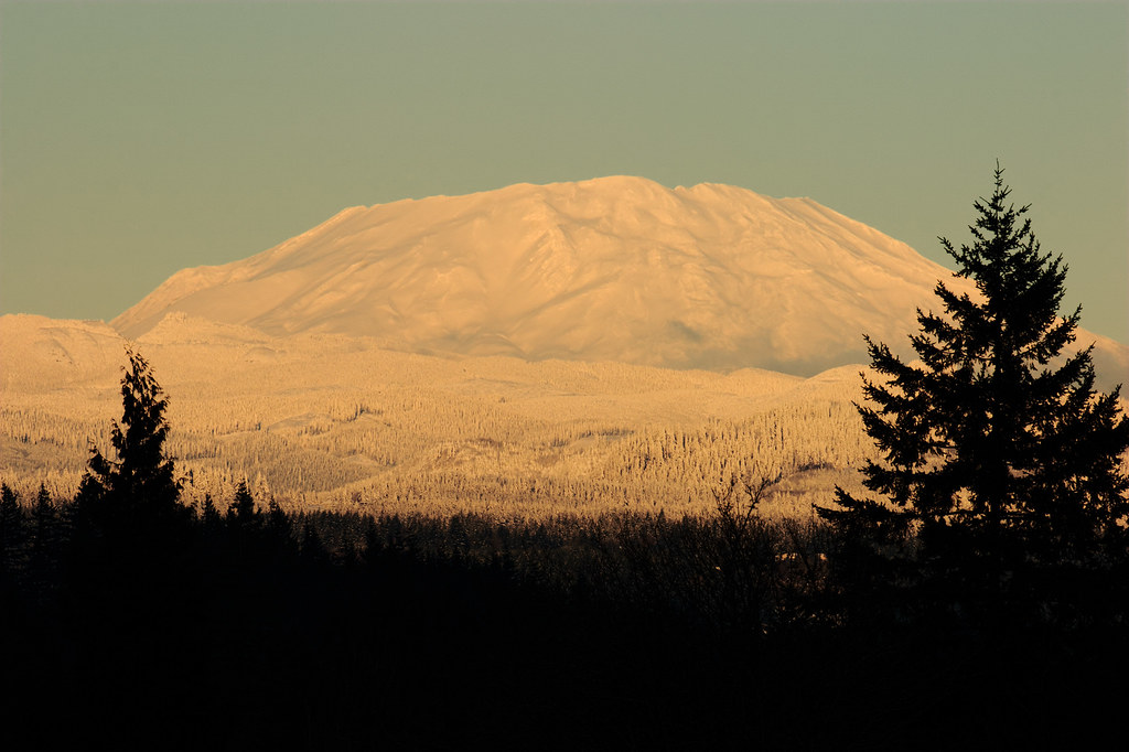 A view of Mount St. Helens near sunset