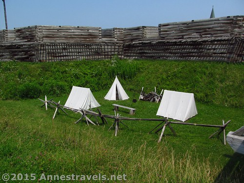 There wasn't room for all the soldiers in the fort, let alone all the families who came with the officers, so some of them lived in tents in the ditch around the fort. Fort Stanwix National Monument, New York.