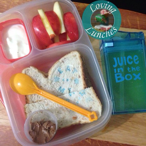 Loving easy for Miss Ms @easylunchboxes tomorrow… yoghurt, apple, sandwich with #eatme stamp from @colessupermarkets , Nutella/cashew dip and juice in her #juiceinthebox which was used to treat her apple from browning- win win! #colesmag @colesmag_team