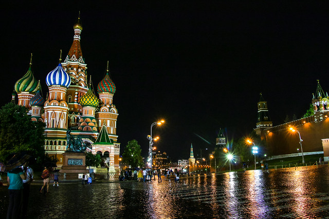 Raining Red Square at night, Moscow, Russia モスクワ、夜の赤の広場